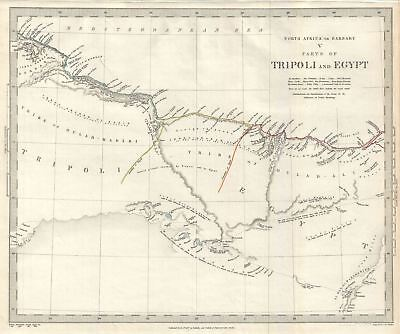 1844 S.D.U.K. Map of the Coast of Egypt and Tripoli (Libya) in North Africa
