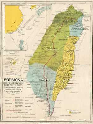 1901 Davidson Map of Formosa / Taiwan