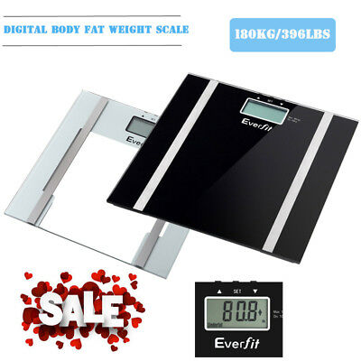 New Digital Body Fat Scale Bathroom Scales Home Gym Weight LCD Glass Scale 180KG