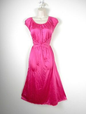 Vtg SHADOWLINE Hot Pink Nylon Long Night Gown Sheer Embroidered Waist SMALL USA