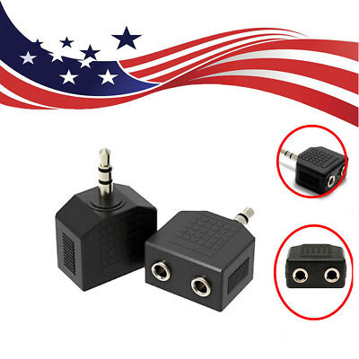 "2X Audio 3.5mm Y Splitter Adapter Jack 1/8"" Male to 2 Dual AUX Female Headphone"