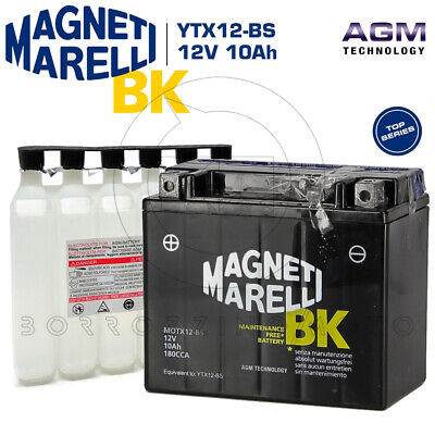 BATTERY MAGNETI MARELLI YTX12-BS 12V 10Ah TRIUMPH SPEED TRIPLE S 1050 2007 2008