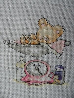 Personalised Completed Cross Stitch  New Baby Birth Sampler record Baby Scales