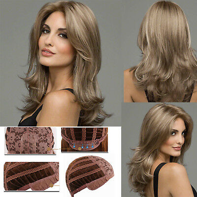 Women Long Curly Brown Blonde Wigs Synthetic Hair Natural Full Wavy Wig+Hair Cap