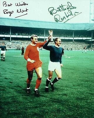 Roger HUNT & Ray WILSON 1966 England SIGNED 10x8 Photo Autograph AFTAL COA