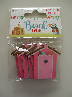 Beach Life 6 Wooden Shapes Toppers - Beach Huts - holiday