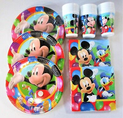 Disney Mickey Mouse Party Tableware Pack for 30 People - Plates Cups and Napkins