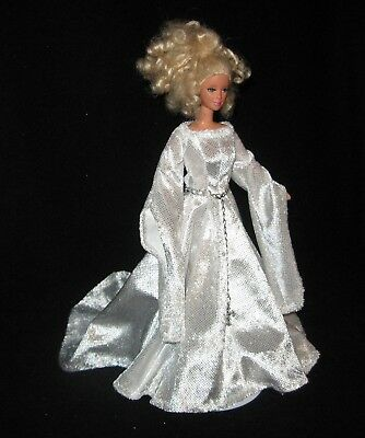 Handmade White with Glitter Dots Panne Medieval  Dress for Barbie and Belt