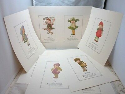 8 different 1978 Mother Earth's Children prints. Fruit & veggie babies
