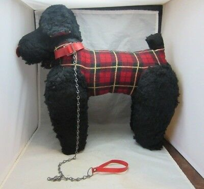 Large vintage stuffed French Poodle dog with beret