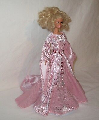 Handmade Pink with Glitter Dots Panne Medieval  Dress for Barbie and Belt