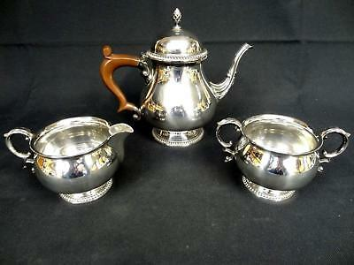 SERVICE SOLID SILVER 3-Piece Tea Set Teapot, Milk Jug and Sugar Bowl Gross 1030g
