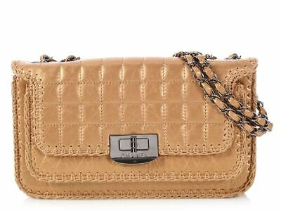 CHANEL Small Gold Quilted Distressed Calfskin Whipstitched Flap Bag Purse  EUC b9c87b72d48cd