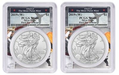 2019 1oz Silver Eagle PCGS MS69 First Day West Point Frame - 2 Pack