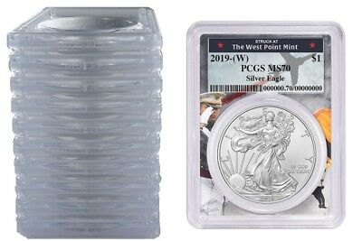 2019 1oz Silver Eagle PCGS MS70 First Day West Point Frame 10 Pack