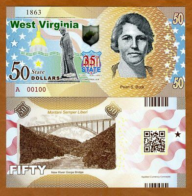 USA States, West Virginia, $50, Polymer, ND (2018), UNC > Pearl S. Buck