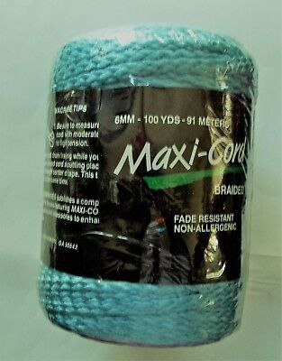 Maxi-Cord Braided Macrame Polypropylene B28 TURQUOISE 6mm 100yds 91m Sealed