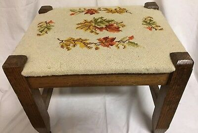 Antique Foot Stool Floral Needlepoint Solid Wood VTG Wooden Foot Rest Ottoman