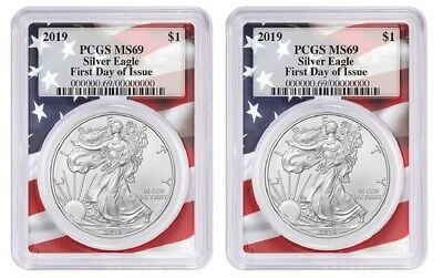 2019 1oz Silver Eagle PCGS MS69 First Day Issue Flag Frame - 2 Pack