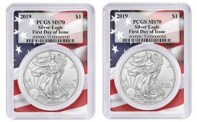 2019 1oz Silver Eagle PCGS MS70 First Day Issue Flag Frame 2 Pack