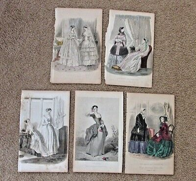 GODEY'S Fashion Plates, From Godey's Ladys Book, c1850, Wedding, Lot of 5