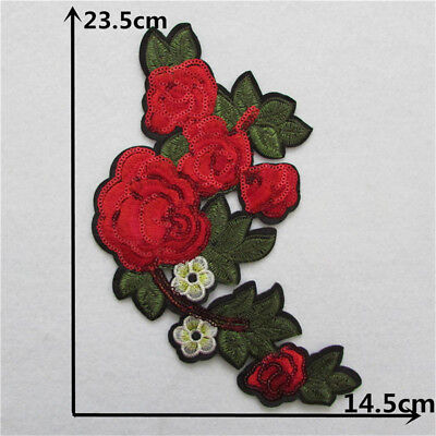 big rose flower iron on patch clothing badge embroidery applique