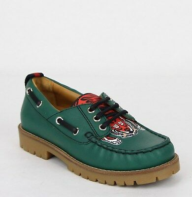4fa5ced2cc6c2 Gucci Boy Toddler Green Leather Loafer w Red Animal Print 25 US 9 455435