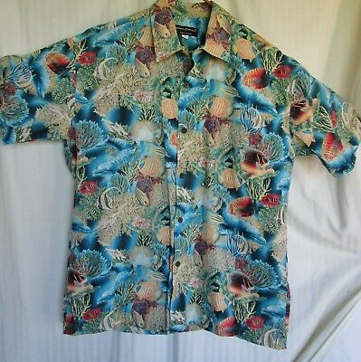 Men L Kilohana Hawaiian Shirt 100% Cotton Chest Pocket Reverse Pattern Made USA