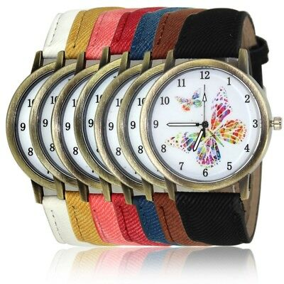 Ladies Girls Butterfly Pattern Arabic Numerals Cute Leather Band Quartz Watches