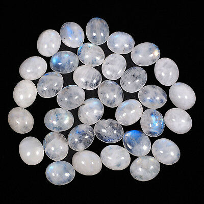 34 Pcs Natural White Rainbow Moonstone Untreated Magnificent Cab Gems 11mm/9mm