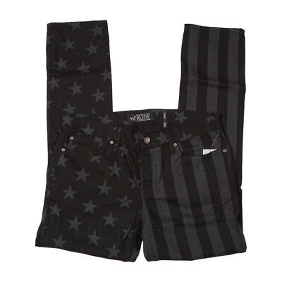 Rude By Hot Topic Mens Black Flag Jeans