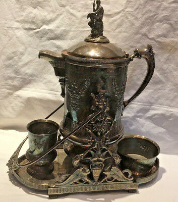 Victorian Silver Plated Tilted Coffee Pot With Accesories Poseidon Finial