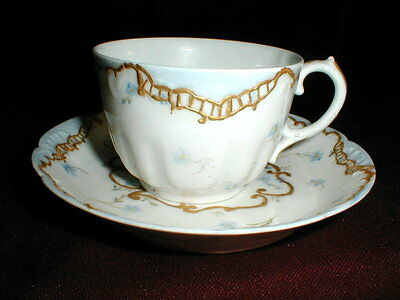 Haviland Limoges France CFH/GDM France Gold Encrusted Blue Flora Cup Saucer 1891
