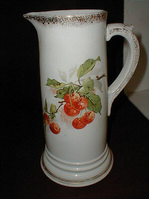 """French Limoges Porcelain 12"""" Tall Tankard/Pitcher Vase w Hand Painted Cherries"""