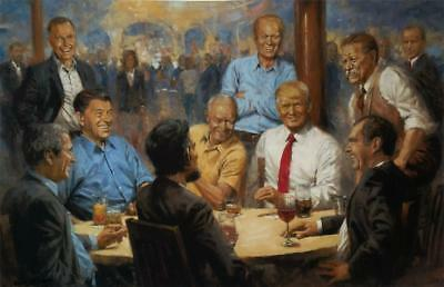 Andy Thomas The Republican Club Donald Trump Signed Canvas  18 x 12