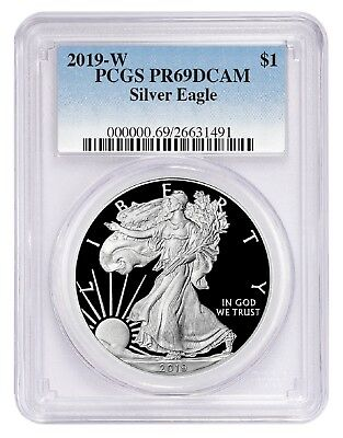 2019 W 1oz Silver Eagle Proof PCGS PR69 DCAM - Blue Label