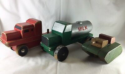Vintage hand made wooden trucks semi trailer, milk truck, army tank hand painted