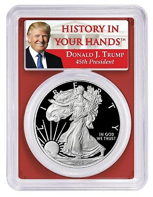 2019 W 1oz Silver Eagle Proof PCGS PR70 Red Frame First Day Issue Donald Trump