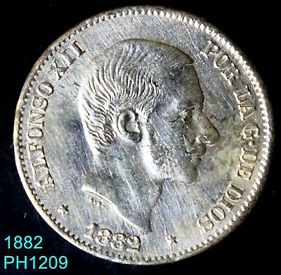 PHILIPPINES SPAIN 50 Centimos 1882 silver coin hard to find in this condition