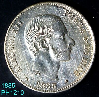 PHILIPPINES SPAIN 50 Centimos 1885 silver coin hard to find in this condition