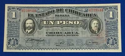 "1914 $1 Choice Crisp Uncirculated Mexico LARGE SIZE BLUE ""HORSEBLANKET"" Currency"