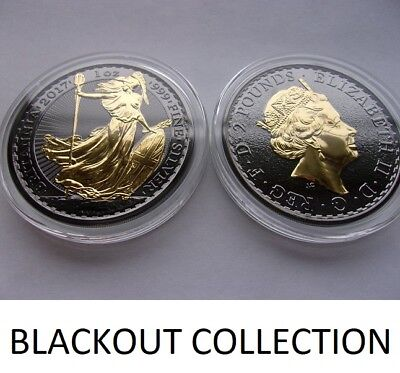 2017 1 Oz Silver British Britannia Coin Black Ruthenium-24Kt Blackout Collection