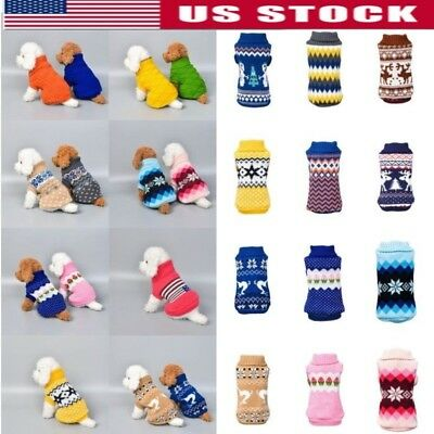 Pet Cat Dog Winter Knitted Jumper Sweater Warm Coat Jacket Puppy Clothes US