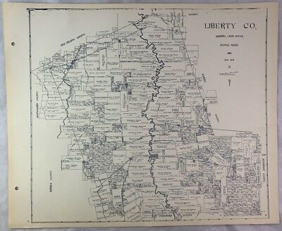 Antique General Land Office Map Liberty County Texas Showing Plats ++