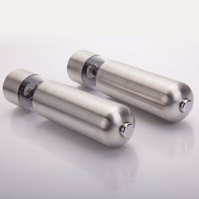 2Pack Automatic Electric Stainless Steel Salt Pepper Grinder Set of 2 Premium