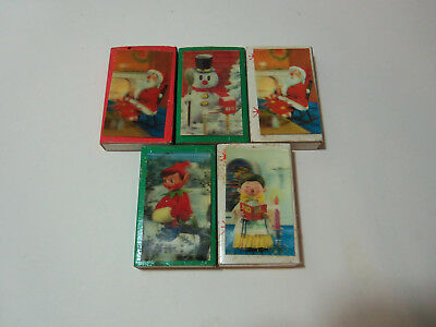 Vintage Lot 5 MATCHBOX Lenticular  3D or 3-D Labels ELF ON THE SHELF CHRISTMAS