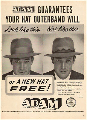 1953 vintage AD ADAM Men's Hats w/ Guaranteed outer band or new hat Free! 120917