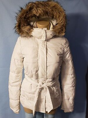 New Aeropostale Junior Girls White Hooded Puffer Coat Jacket Faux Fur Small