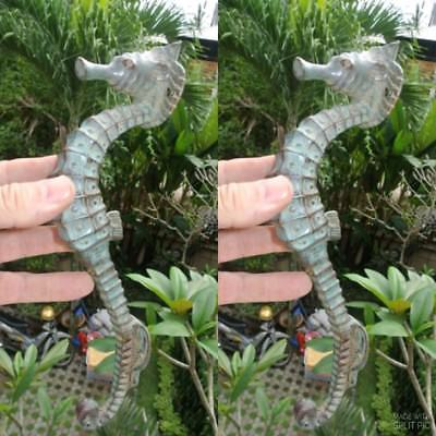"2 aged green SEAHORSE solid brass door old style PULL handle 10"" seaside B"