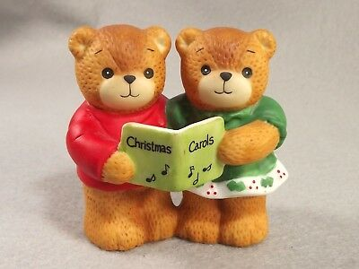 Lucy Me Teddy Bears Pair 1986 Figurine Singing Christmas Carols